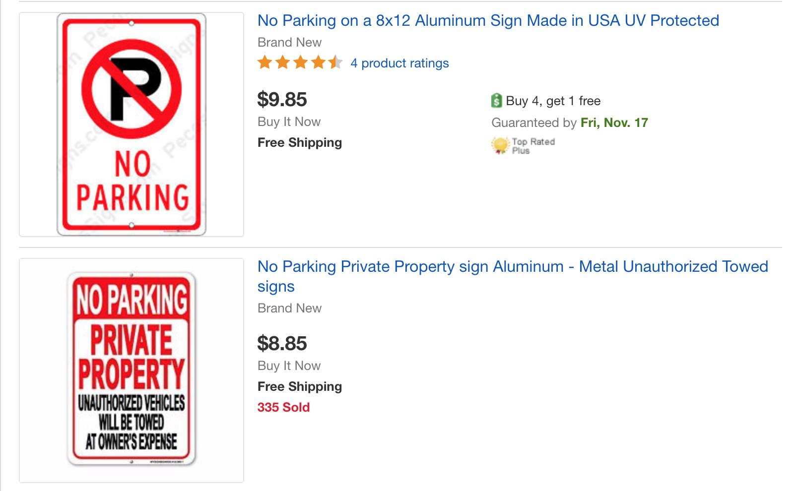 停車標識在Ebay上可以輕易購買,價格一般在10元左右。(記者陳開/攝影)