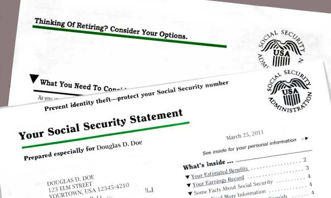 社安金明細單告訴你,達到完全退休年齡以及在此之前和之後,申請社安金每月大概可領多少錢。(網路圖片)