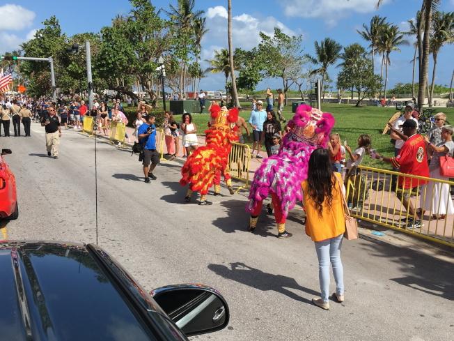 參加第9屆2017年邁阿密海灘市退伍軍人節遊行的華裔遊行隊伍,彩獅沿途表演,很受觀眾歡迎。(徐結武提供)