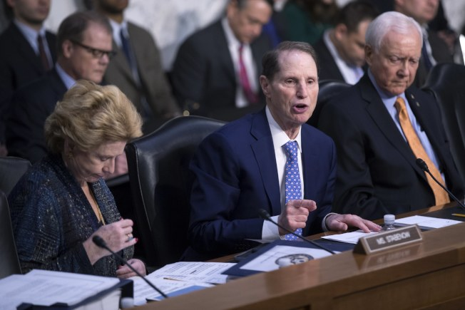 民主黨籍的國會參院財政委員會成員魏登(中)在稅改案上發言。(歐新社)