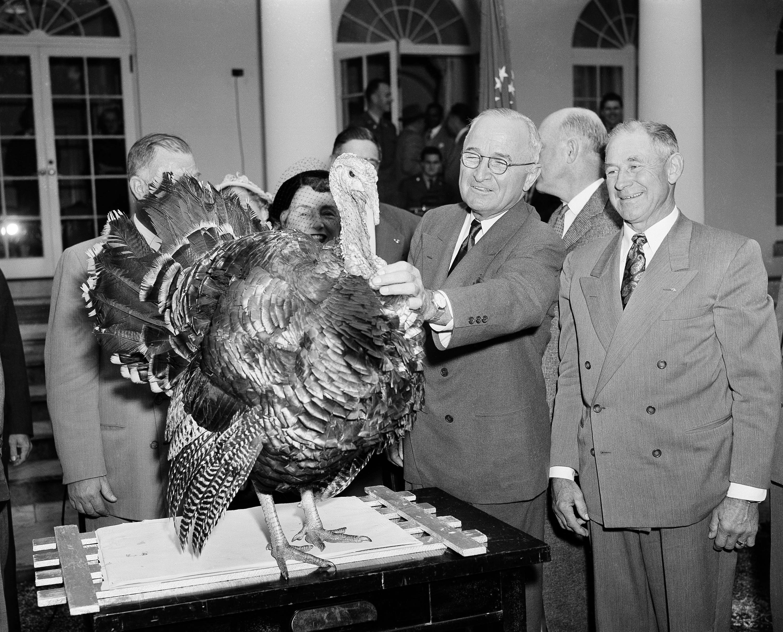 1952年11月18日,杜魯門總統度過在白宮的最後一個感恩節。據說白宮赦免火雞的傳統來自杜魯門總統,他是第一個收到美國全國火雞協會送出火雞的總統,全國火雞協會的如意算盤是,藉由總統讓火雞成為感恩節大餐。右一是當時俄勒岡州Corvallis市的Loren Johnson,他是火雞協會的重要成員之一。(美聯社)
