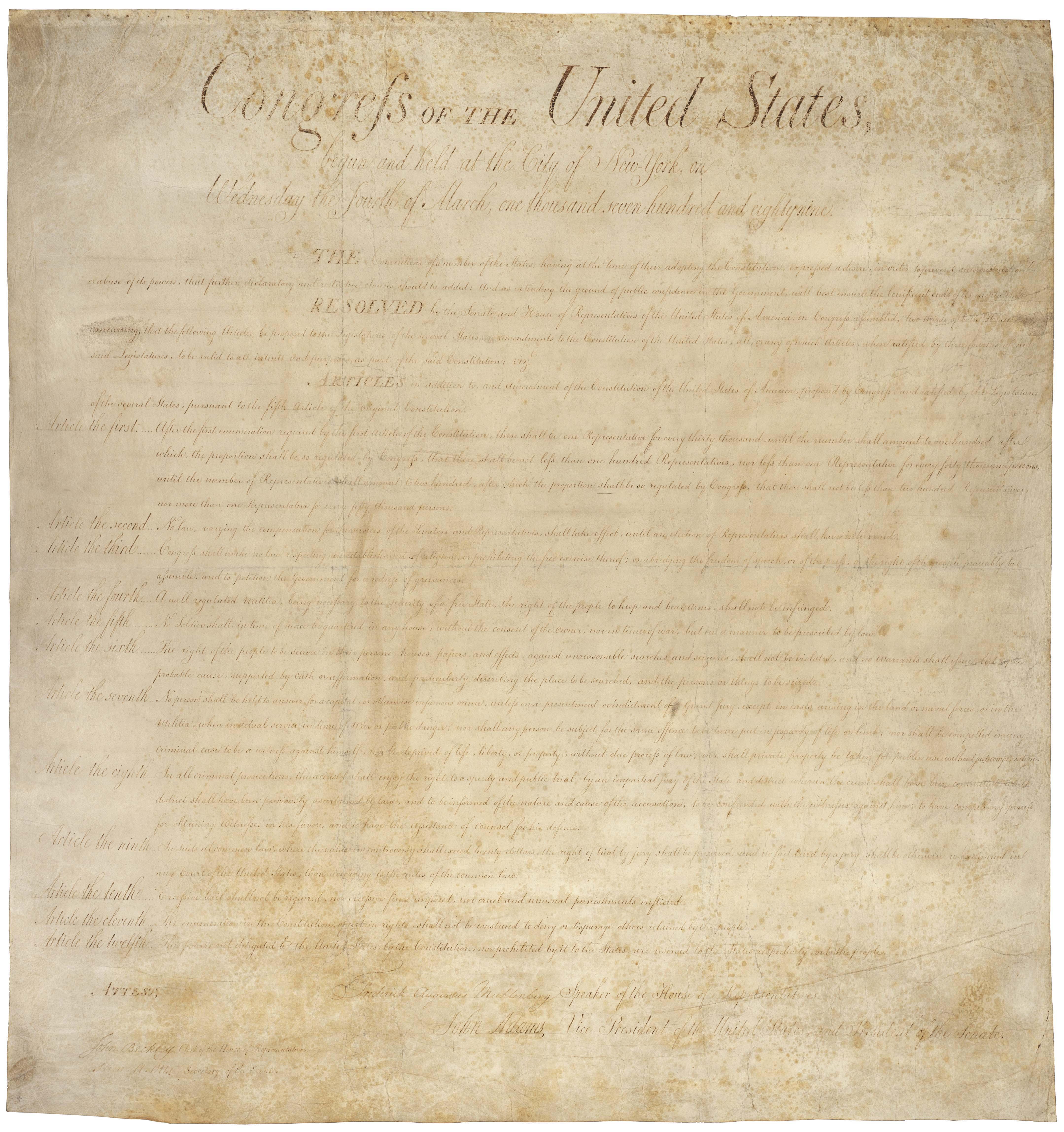 美國權利法案(United States of Rights)。取自/維基百科