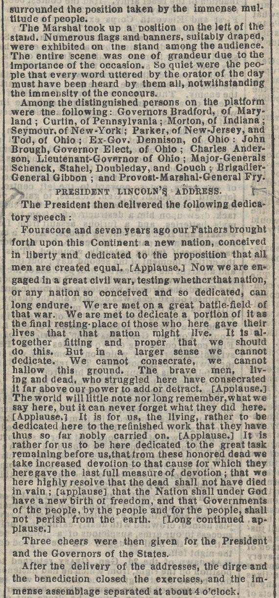 1863年11月20日紐約時報的文章,指出林肯的演講被掌聲打斷多達五次。(康奈爾大學圖書館)