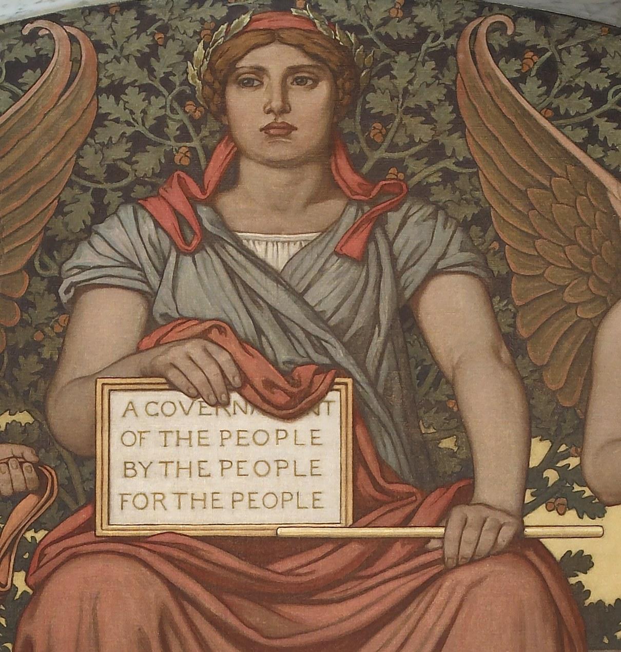 國會圖書館的壁畫上刻有林肯於蓋茲堡演說中的一句名言。(WikiCommons)