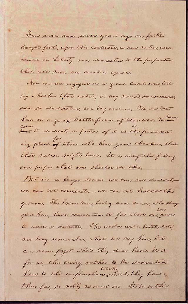 林肯總統的蓋茲堡演說手稿。(WikiCommons)