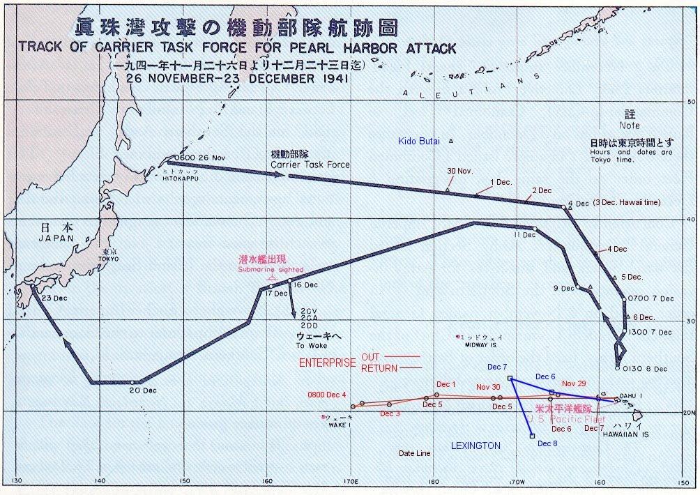 日軍前往珍珠港及返程路線。(WikiCommons)