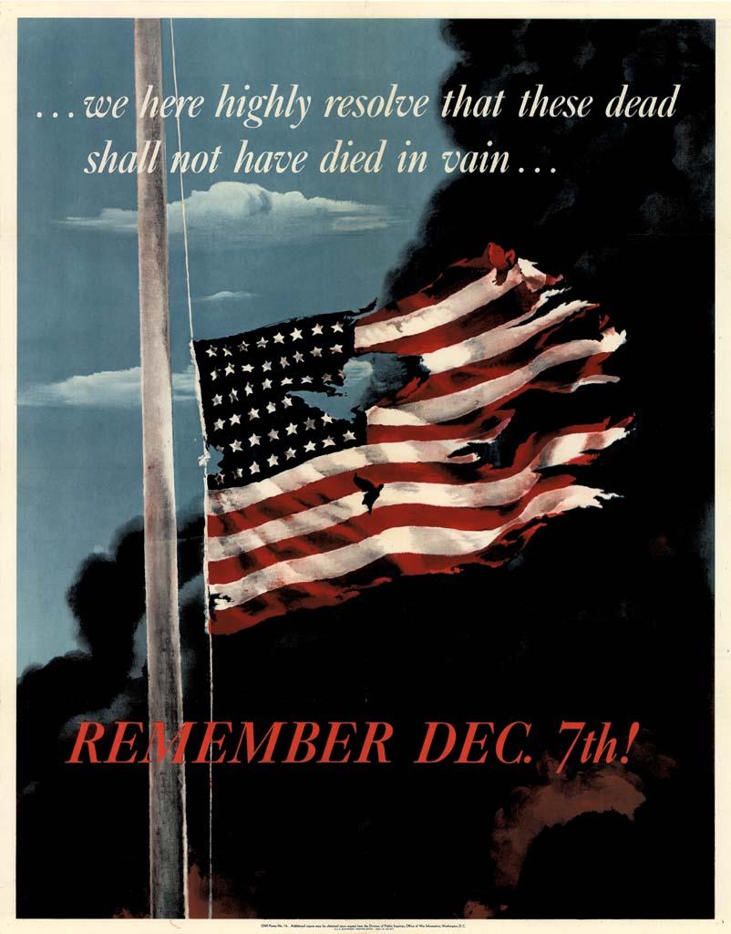 1942年的美國政府宣導海報,以1941年12月7日爆發的珍珠港事變為核心,呼籲民眾支持參戰。(國家檔案庫)