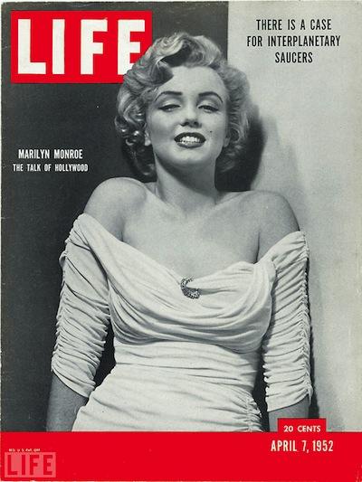 1952年4月7日的生活雜誌以瑪麗蓮夢露當封面。(網路圖片)