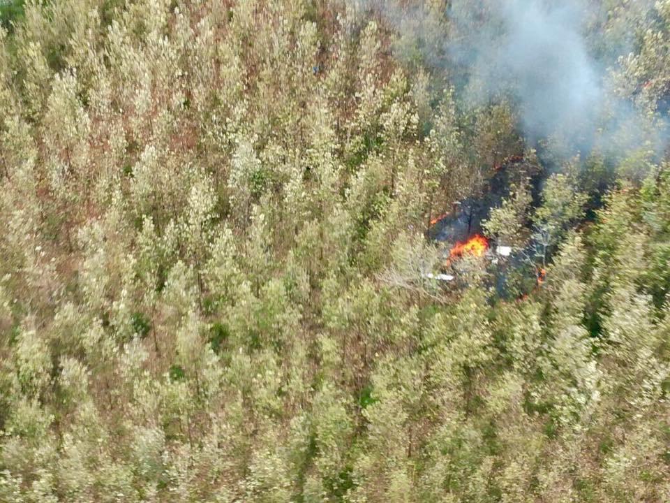 墜毀在哥斯大黎加山區的小客機失事現場,仍可見焰火燃燒未息。(路透)