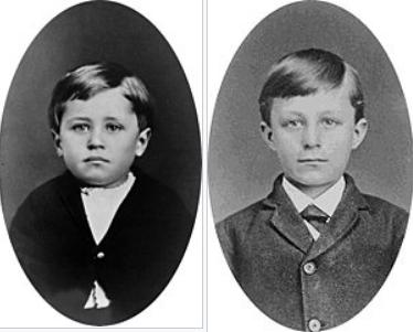 童年時期的萊特兄弟:奧維爾(左)和威爾伯(右),攝於1876年4月。(國會圖書館)