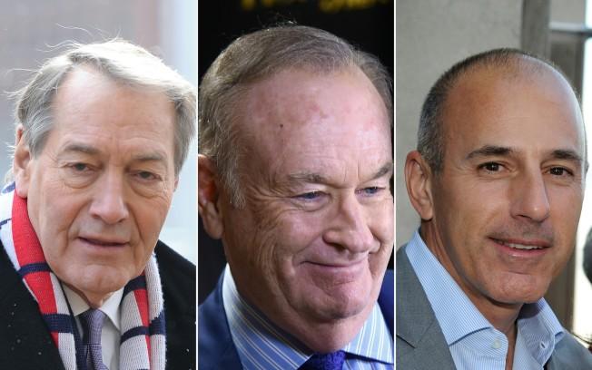 涉及性騷擾的三名知名主播,左起羅斯、歐萊利及勞爾。(Getty Images)
