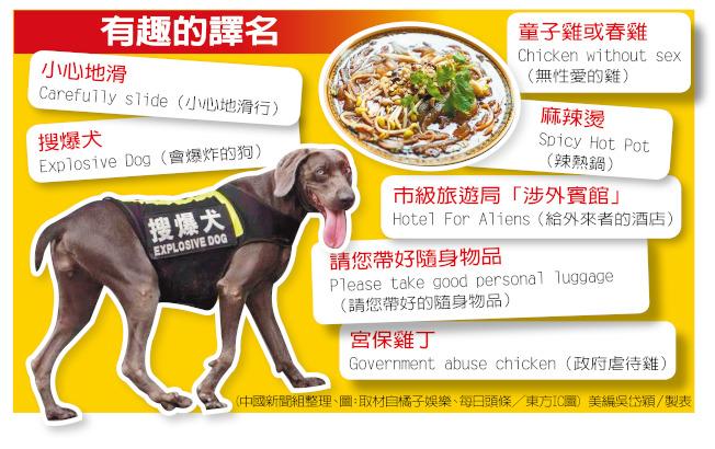 中國路牌、餐牌翻譯成英文時經常鬧出笑話。