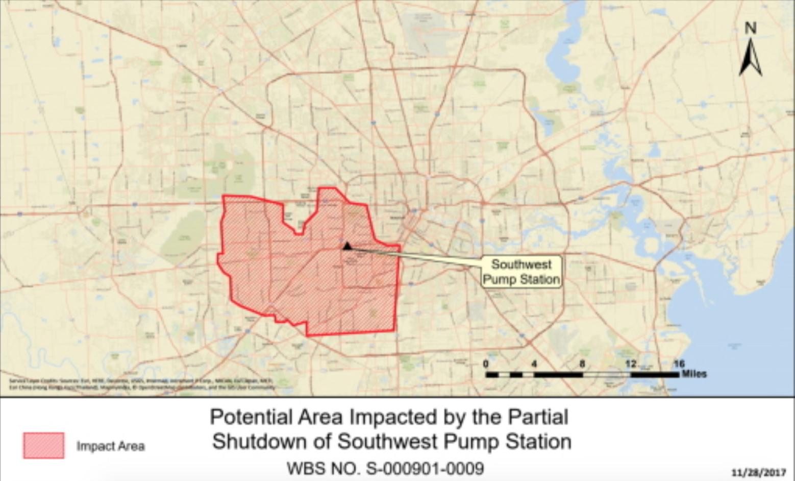 受此次低水壓事件影響的區域。(休士頓市政府提供)
