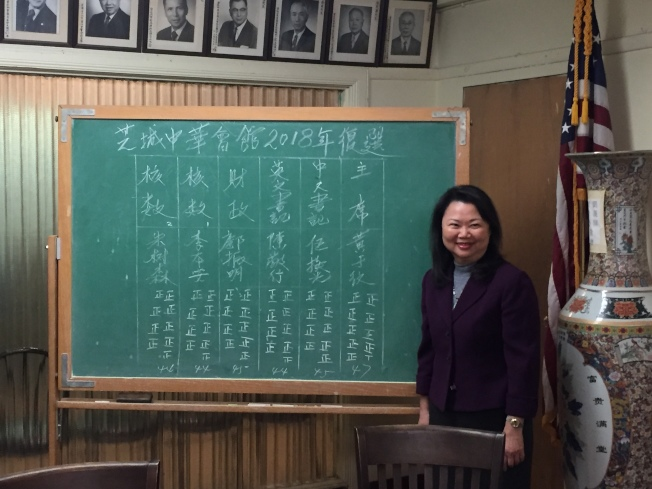 黃于紋以47票全票通過芝加哥中華會館2018年複選,蟬聯新任主席職務。(記者董宇╱攝影)