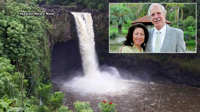 聖地牙哥縣退休夫婦Glady & George Novinger日前在夏威夷探親度假時,不幸雙雙遭瀑布沖走溺斃。(KHLN)