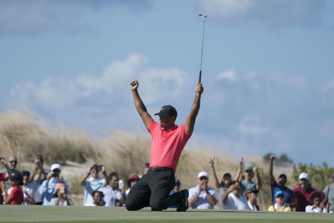 伍茲最後一輪第7洞獵鷹,興奮地跪地高舉雙手慶祝。(路透)