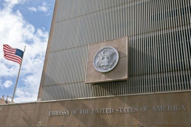 美國駐以色列大使館目前在特拉維夫。 (歐新社)