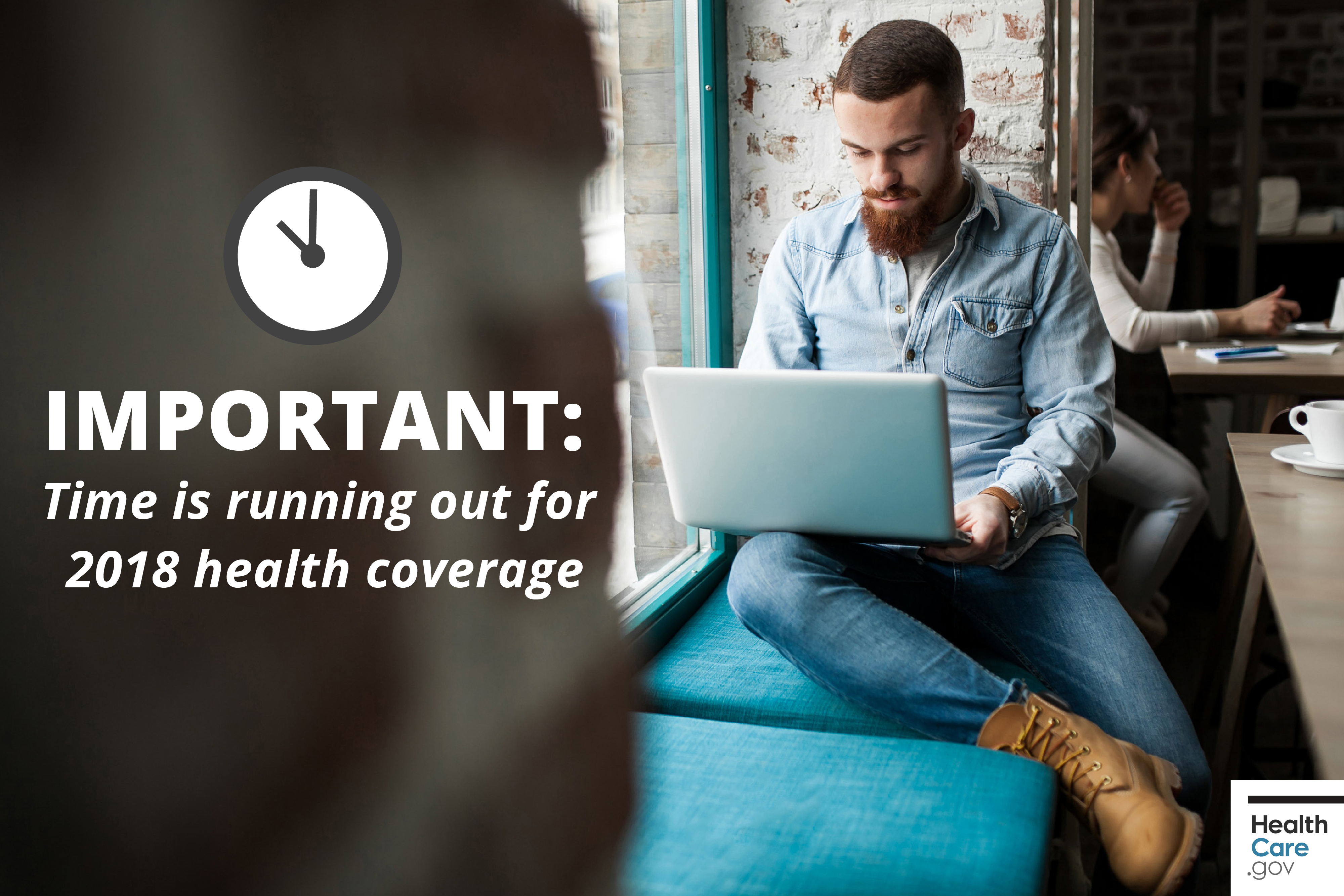 歐記健保申請入口網站healthcare.gov首頁圖片,提醒續保者和新入保者加緊腳步提出申請,勿錯過截期。(CMS官網)