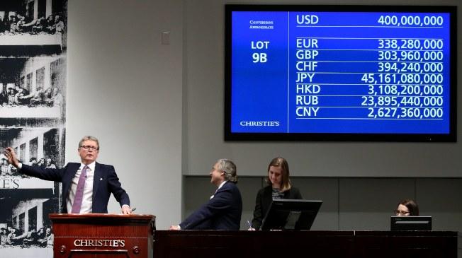 達文西名畫「救世主」上月在紐約以4億美元天價落槌。(歐新社)