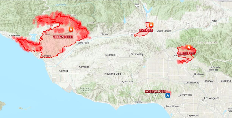 圖說:截止7日上午9時,南加州的4處山火地點。(圖:國家氣象局)