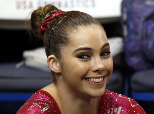 馬隆尼2013年8月在康乃狄克州參加全美競技體操資格賽。(美聯社)