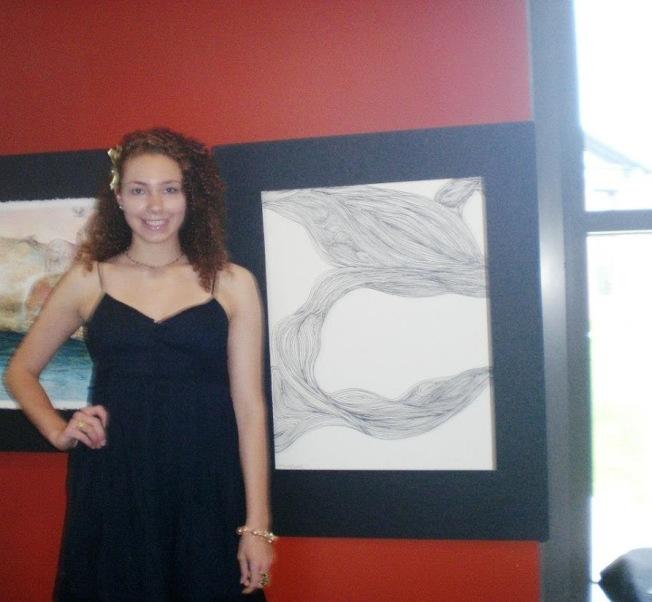 在紐約新學校-帕森,瑪麗娜和她的作品。