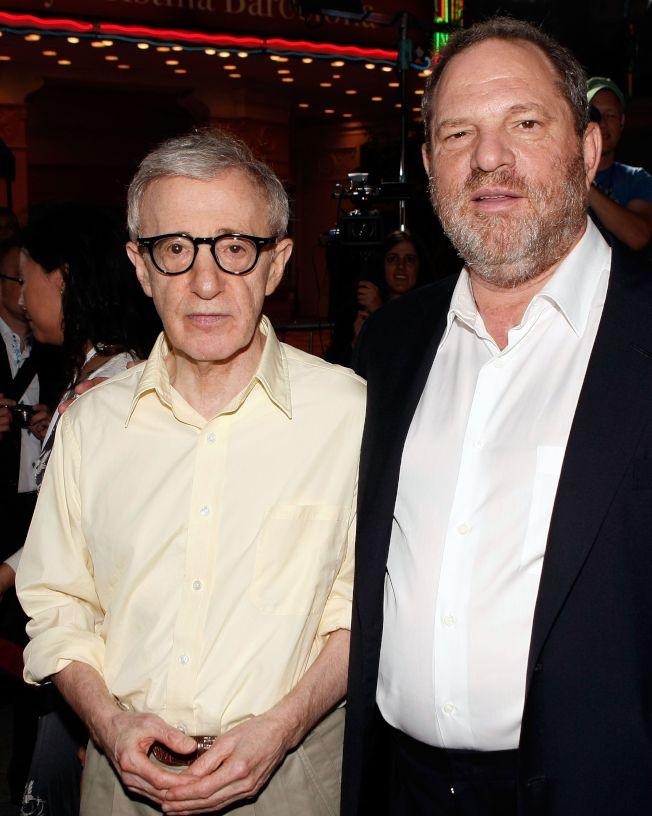好萊塢大亨溫斯坦(右)爆出性醜聞,名導演伍迪艾倫還為他緩頰。(Getty Images)
