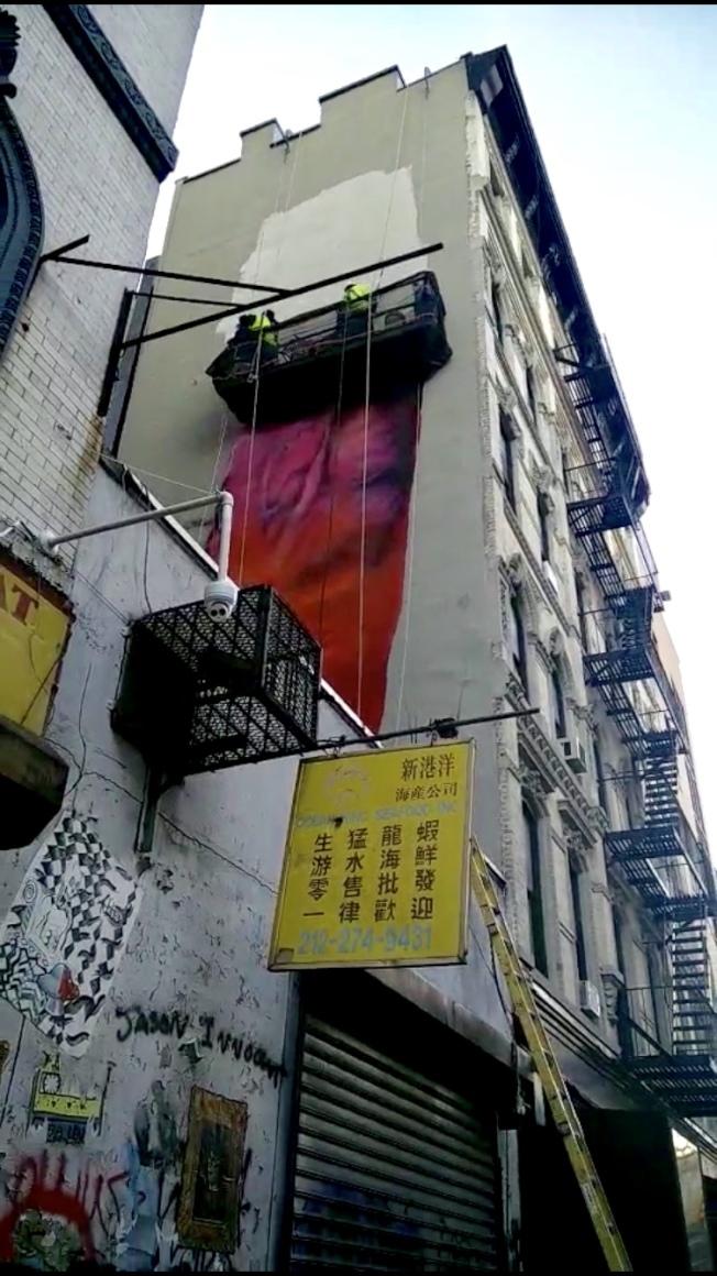 華埠巨型男性生殖器畫作被抹去。(何永鴻提供)