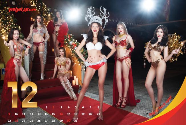 越捷航空以「比基尼」月曆作為行銷手段,招來非議。(取材自越捷航空)