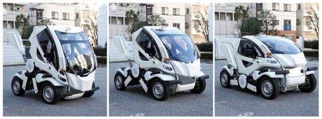 從右至左,日本電動車新創公司Four Link Systems的變形電動車「Earth-1」三段變化。路透