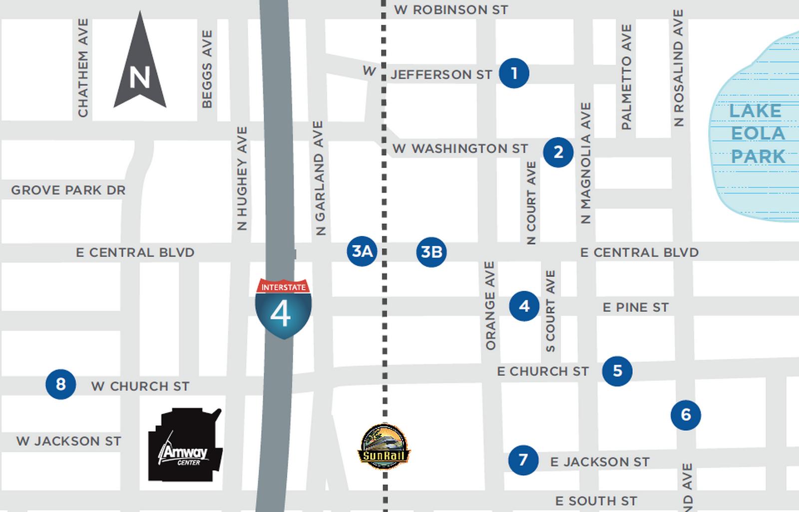 奧蘭多市府畫定的八個乘載區圖示。(奧蘭多市府提供)