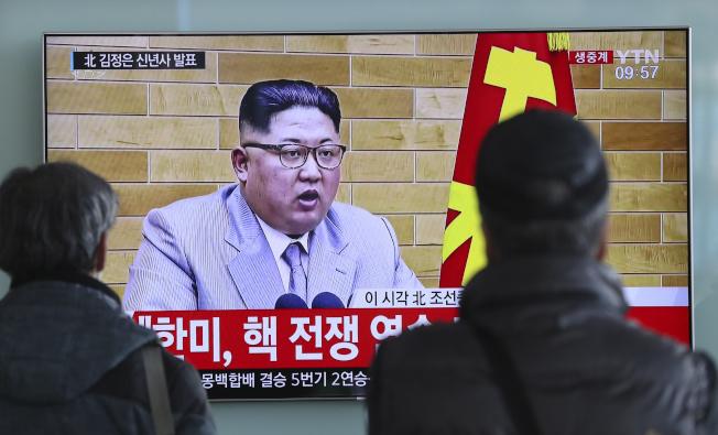 金正恩在元旦演說中表示:「核按鈕一直在我桌上。這是事實,不是威脅。」(美聯社)