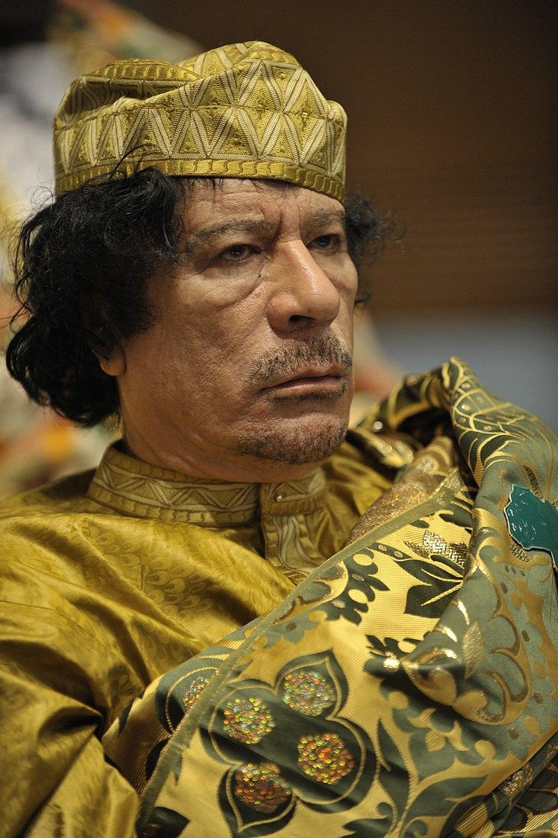 利比亞獨裁者穆阿邁爾·格達費(Muammar Gaddafi)。(美國海軍檔案庫)