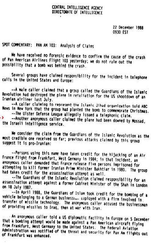 此次襲擊的真正原因眾說紛紜,也引發陰謀論。圖為美國情報局CIA於事發隔天所公布的文件,內容為主動宣稱犯案的組織與個人名單。(WikiCommons)