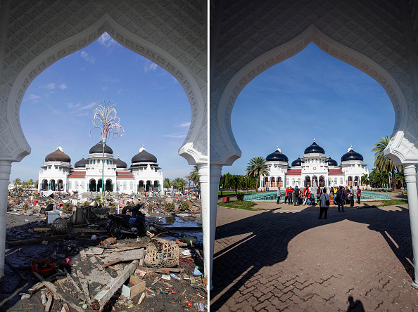 印尼亞齊省的一棟建築物,圖左為2004年強震過後拍攝,右圖為2014年拍攝。Getty Images
