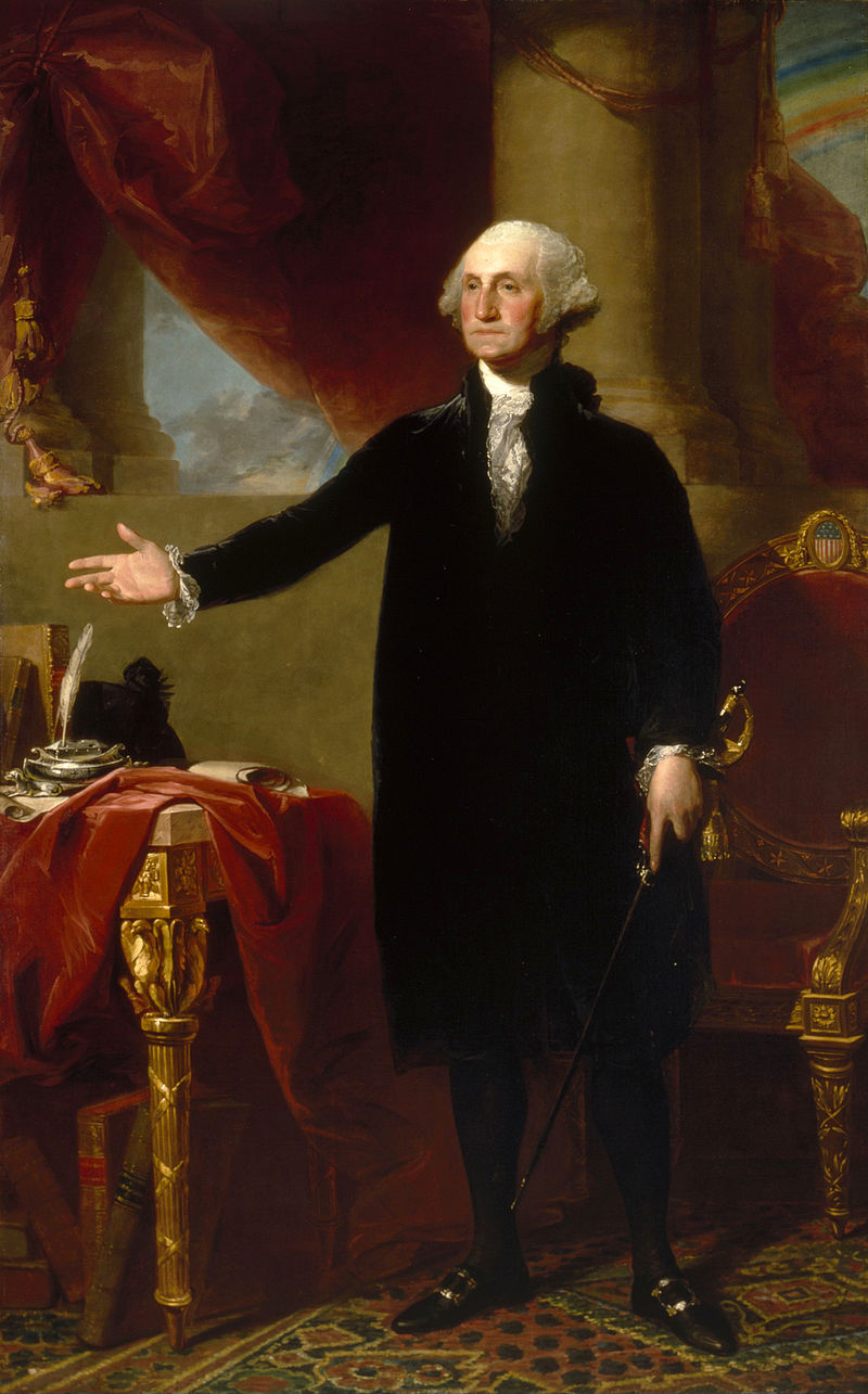 華盛頓表態拒絕第三屆任期時的情景,由吉爾伯特·斯圖爾特所繪。(WikiCommons)