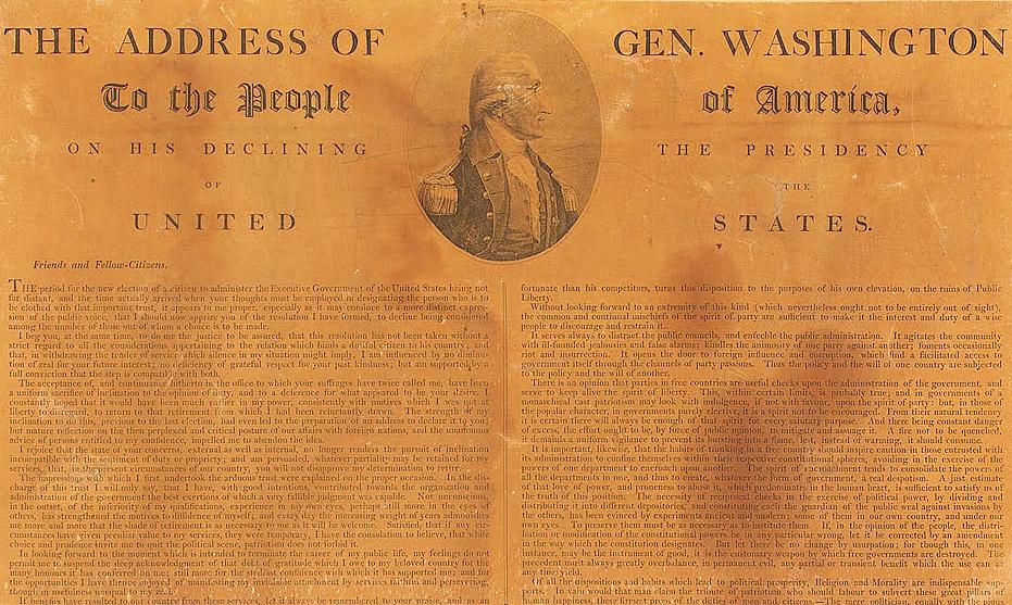 華盛頓於1796年9月19日發表的離別演說(Farewell Address)。(國會圖書館)