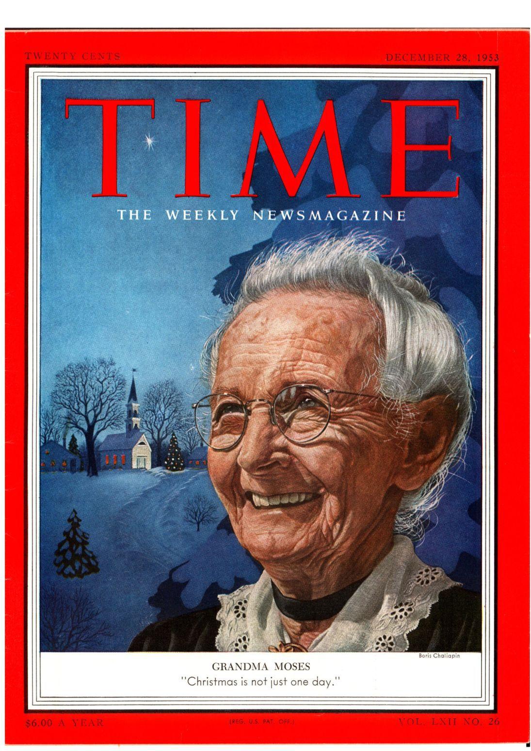 摩西奶奶是重要的美國戰後畫家,大器晚成的她相當令人尊崇。她曾登上時代雜誌封面。圖/取自網路