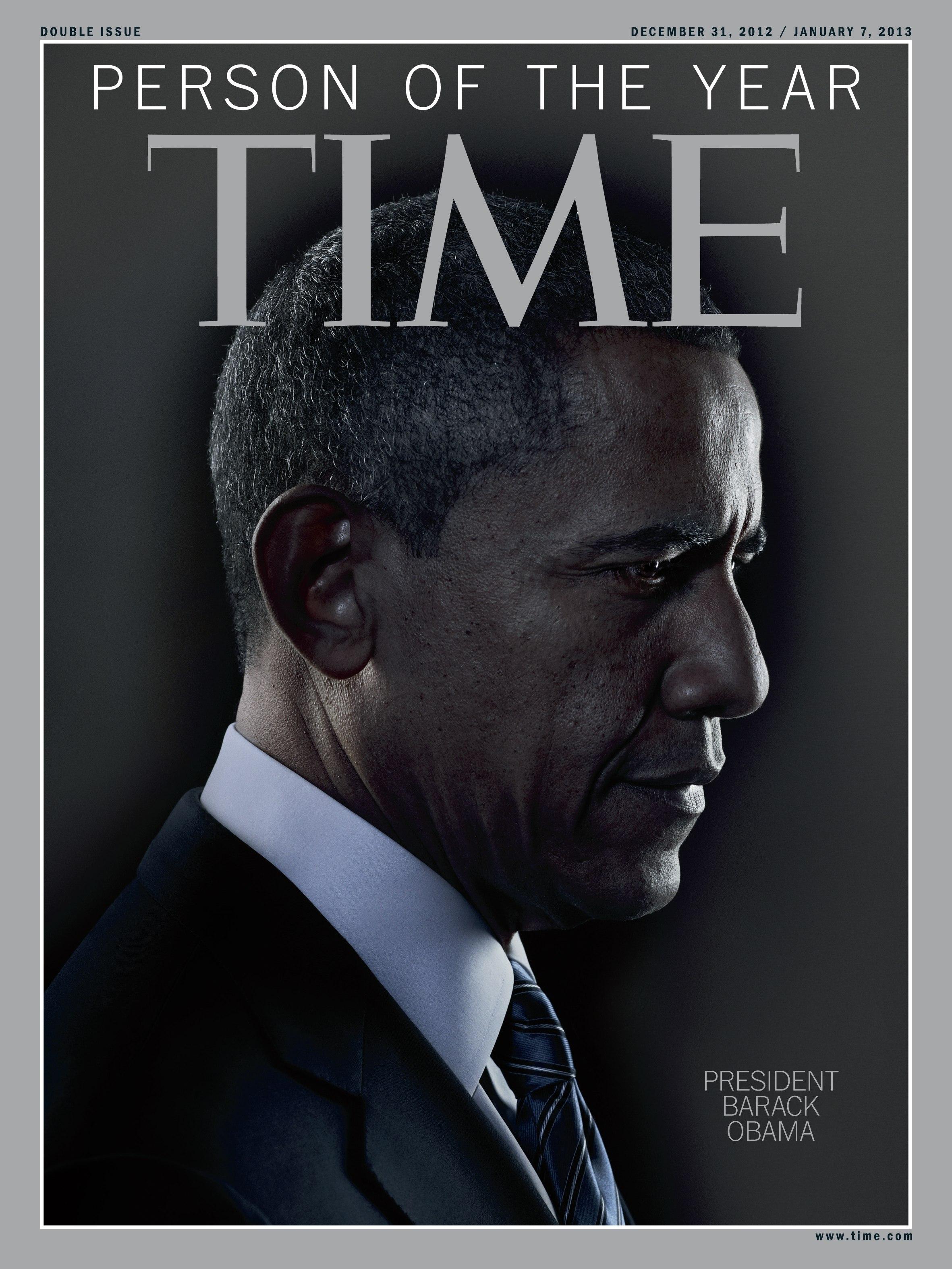 時代雜誌將歐巴馬總統評選為該刊2012年度風雲人物,圖為12月31日出刊的時代雜誌封面。圖為2016年路透檔案照