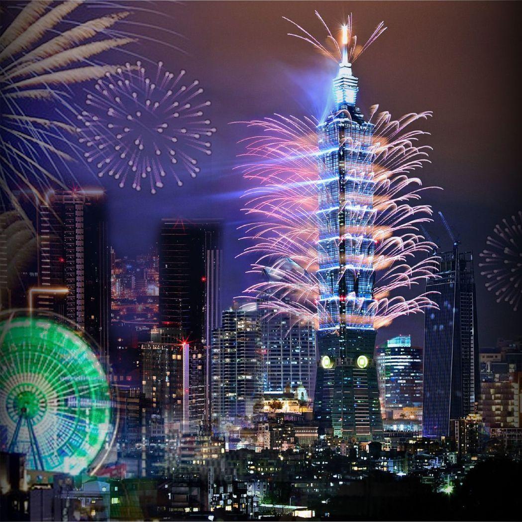 台北101大樓的每年跨年煙火秀皆燦爛輝煌。(台北萬豪酒店提供)