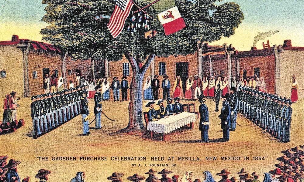 1853年12月30日,美國和墨西哥簽署了一項條約。美國以1000萬美元的價格,從墨西哥購買約45000平方英里的土地,這個交易被稱為「蓋茲登購地」(Gadsden Purchase)。(新墨西哥州博物館)