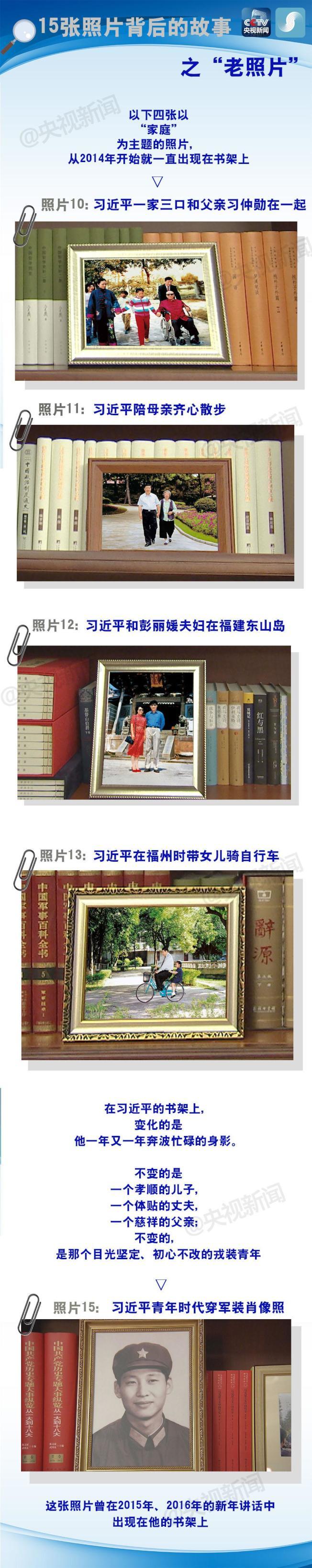 習近平書架上的6張舊照片。(取材自央視)