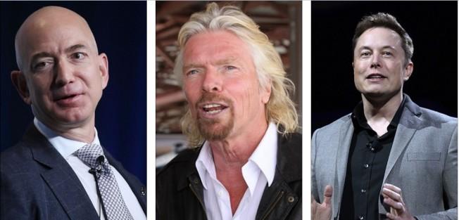 三大富豪2018年準備實現太空旅遊夢。左起:貝佐斯、布蘭森及馬斯克。(Getty Images, 路透)