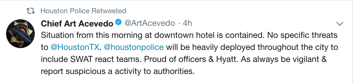 休士頓警局局長阿塞維多在推特上說明嫌犯沒有濫射打算。(取材自阿塞維多推特)