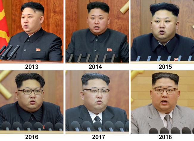 金正恩歷年元旦講話造型。2017年起改穿西裝。路透