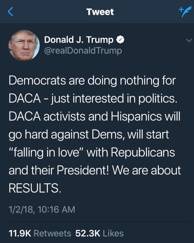川普總統2018年首日,推文預告DACA夢想生會愛上他。(推特)