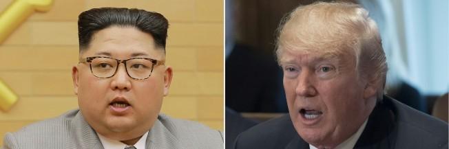 美國總統川普(右圖)2日推文說,北韓領導人金正恩(左圖)願意和南韓對話,或許是好事或許不是,我們走著瞧。(Getty Images)