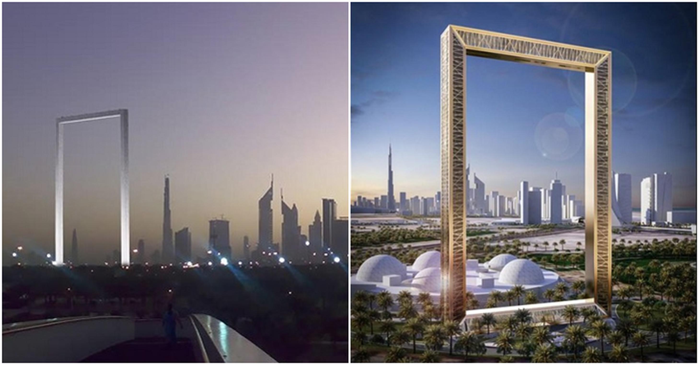 「迪拜之框」(右圖)表面鑲滿金色花紋,在沙漠的陽光下閃閃生輝。左圖為 The Dubai Frame.com多尼斯2008年國際設計比賽奪冠的作品。(取材自臉書)
