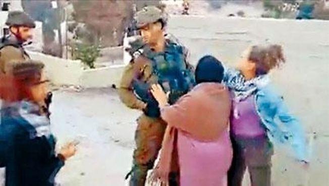 塔米米掌摑以色列士兵的影片在網上瘋傳。(翻攝自視頻)