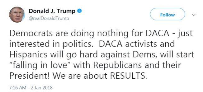 川普總統2日發推說,民主黨人在保護夢想生上什麼事都沒做,被認為是激怒民主黨人,和為兩黨領袖3日在白宮商討夢想生等問題增添變數。(網路截圖)